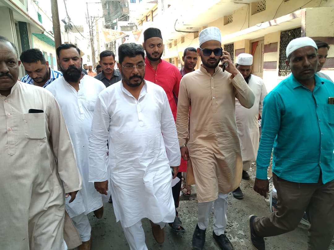 Nampally MLA Jaffar Hussain Meraj inspected the surrounding areas of First Lancer Ahmed Nagar Division after Namaz E Jummah