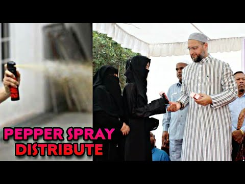 asaduddin-owaisi-distributes-pepper-spray-to-girls