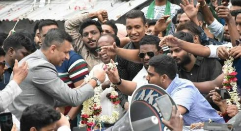 Akbaruddin Owaisi organises road show in Nampally Assembly constituency