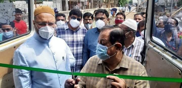 Asaduddin Owaisi Sahab along With Mumtaz Khan MLA inaugurated COVID-19 Mobile Testing Bus in Khilwath, Charminar Constituency