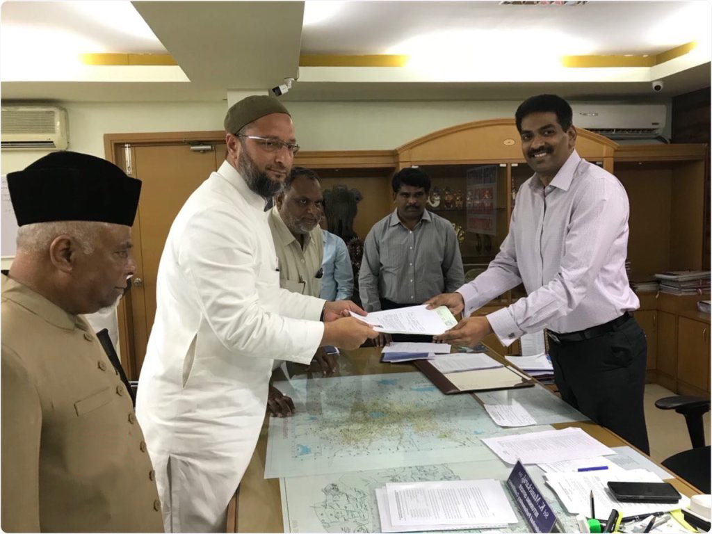 AIMIM President Asaduddin Owaisi files nomination paper from Hyderabad LS seat