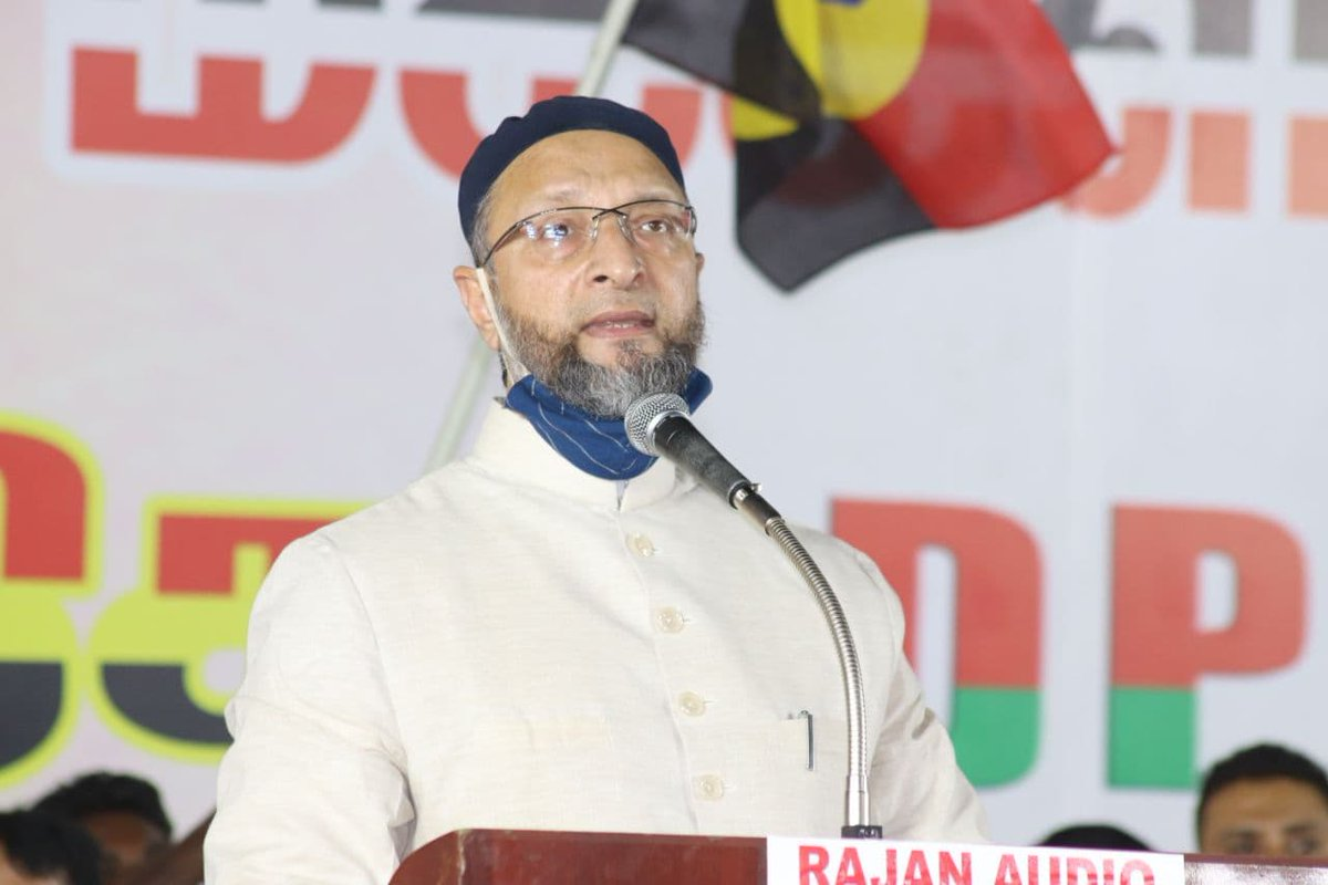 Asaduddin Owaisi addresses the election meeting in Vellore