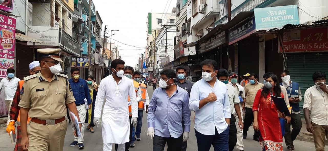 KTR inspects the containment zones of Mallepally Division