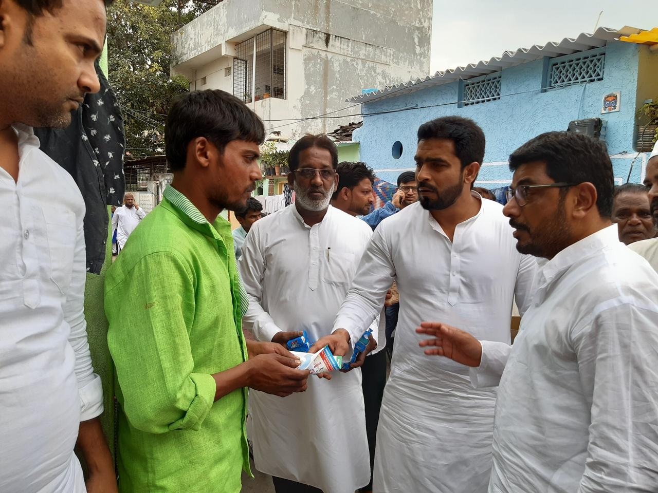 AIMIM MLA Jaffar Hussain Mehraj create awareness against COVID-19 and distributed hygiene products among General Public under Nampally Constituency