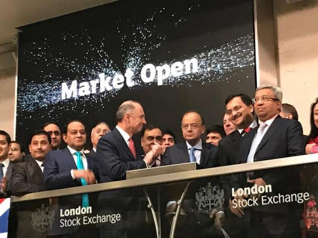 FM Arun Jaitley opens Monday trade at London Stock Exchange