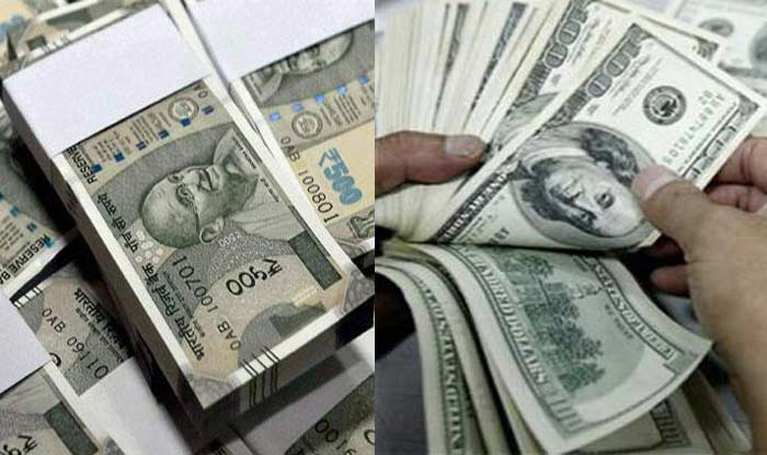 Rupee falls 10 paise against US dollar