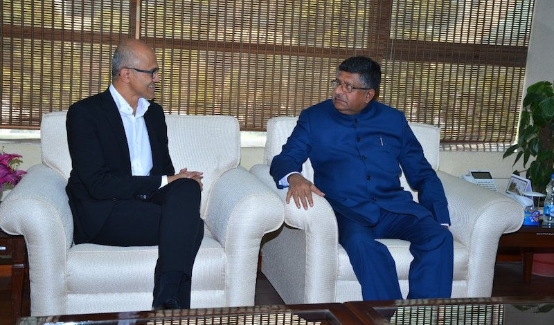 IT Minister meets Nadella, urges to boost DigiGaon initiative