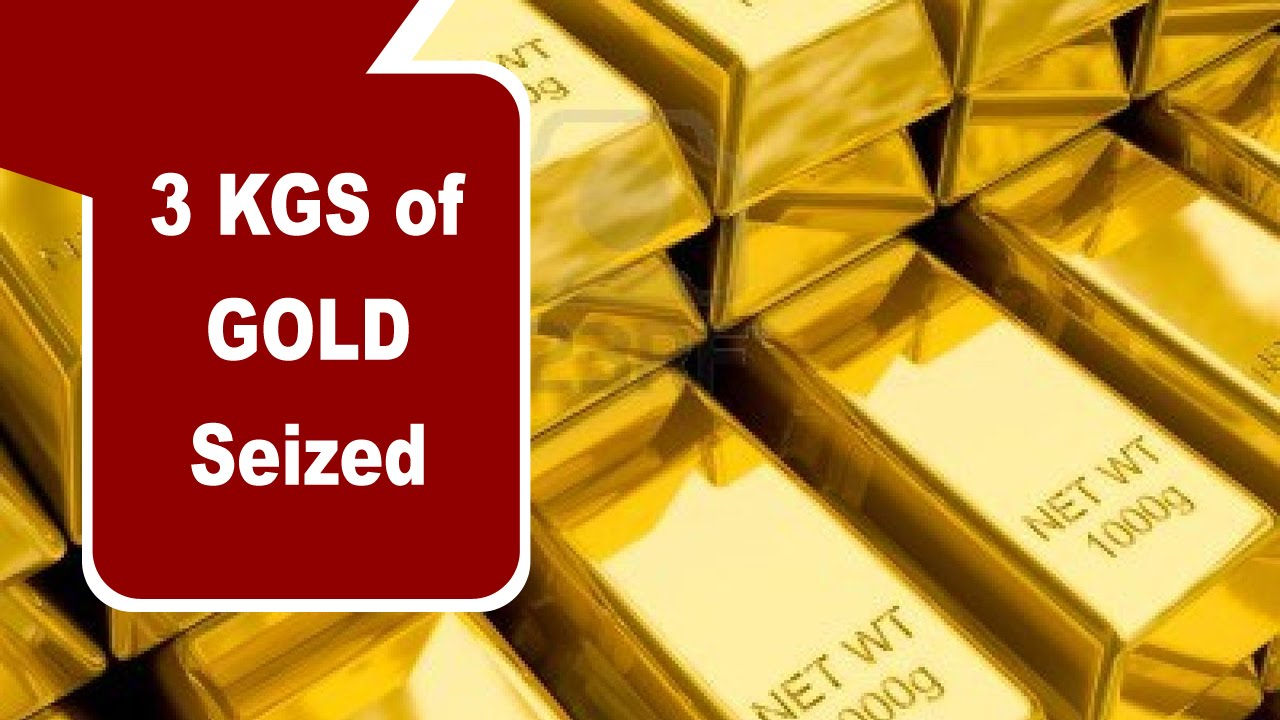 3 kg gold seized at Rajiv Gandhi International Airport,Hyderabad