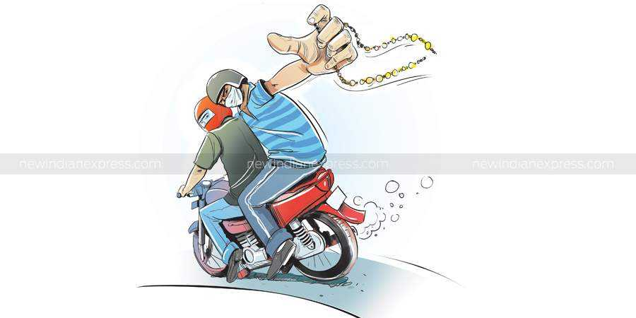 2 bike-borne youth snatched gold chain of elderly woman in Hyderabad