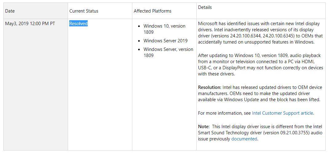 windows 10 version 1809 update history