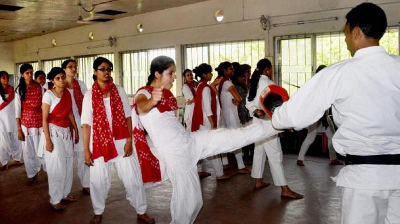 Govt school girls train in martial arts