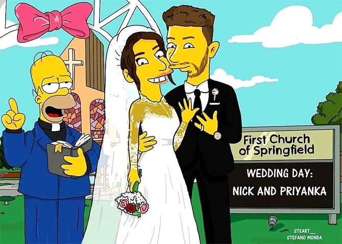 Priyanka, Nick get their Simpsons caricatures