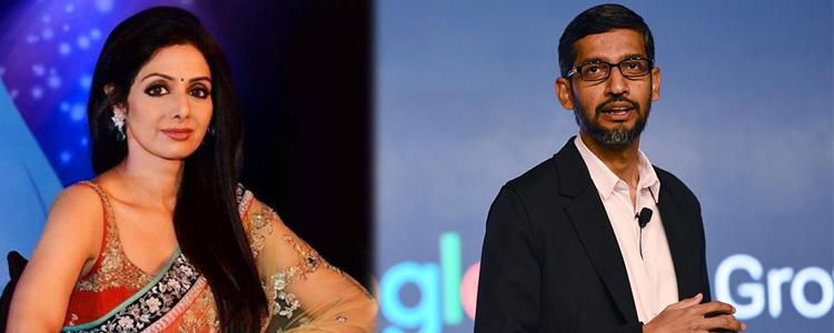 Google CEO tweet on sudden demise of the actress Sridevi