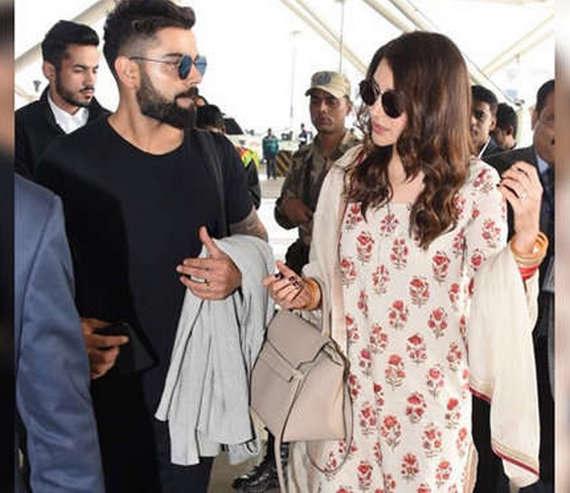 Anushka Sharma, Virat Kohli leave for Mumbai after Delhi reception