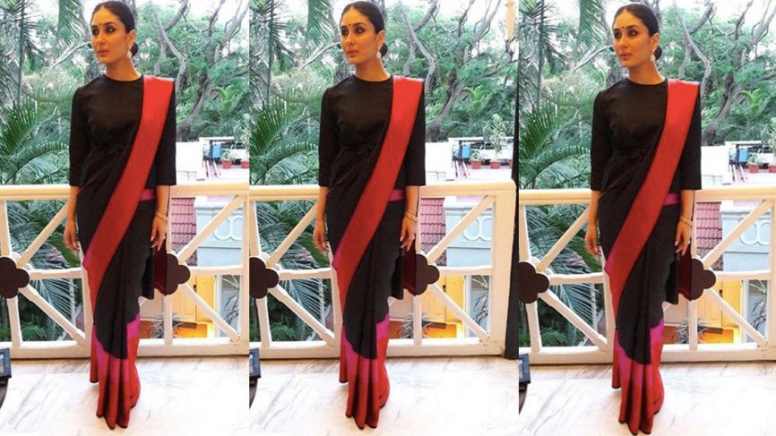 Kareena Kapoor looks mesmerising in a black saree at Bengaluru Film Festival
