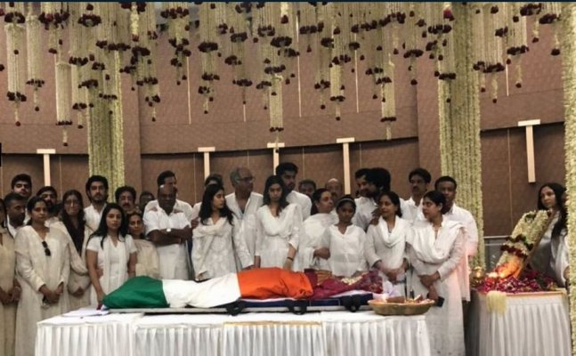 Sridevi funeral: Actor begins her last journey, draped in Tricolour