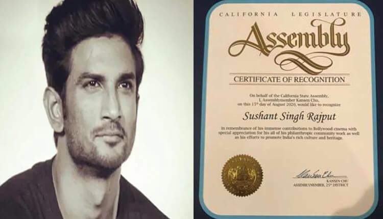 California State Assembly honours Sushant Singh Rajput for his contribution to Indian cinema