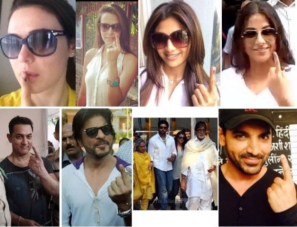 Bollywood celebrities vote in Mumbai