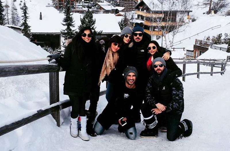 Sushant Singh , Kriti Sanon cozy in the Alps