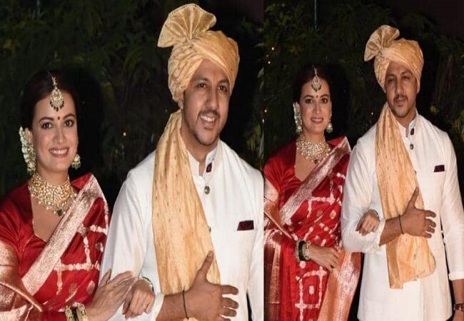 diamirzamarriesvaibhavrekhiposeformediaafterwedding