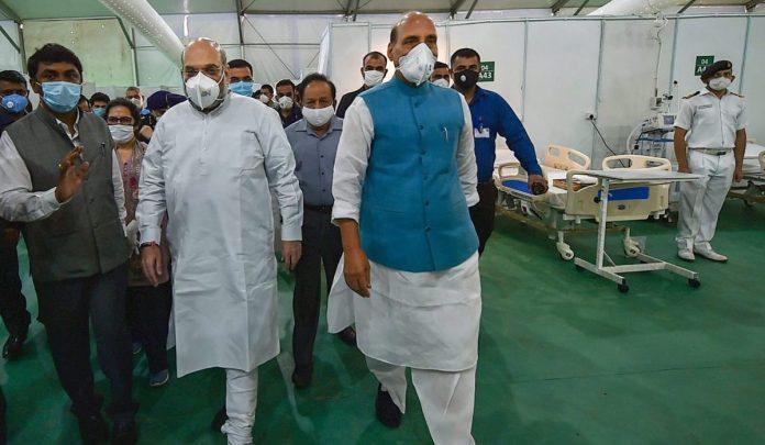 Rajnath Singh, Amit Shah visits the Sardar Patel Covid Hospital in Delhi
