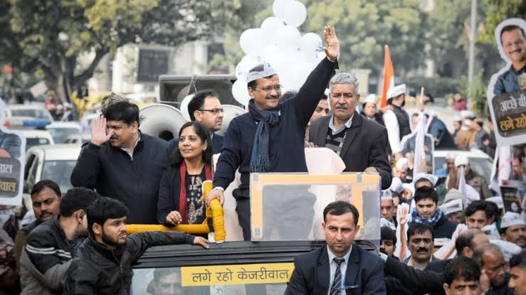 delhi-assembly-polls-arvind-kejriwal-organises-roadshows-in-ghonda-and-timarpur-in-support-of-party-candidates