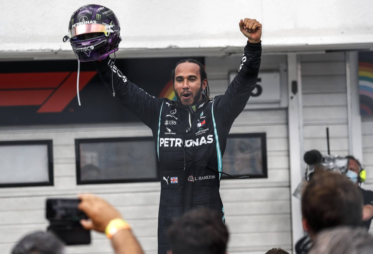 Lewis Hamilton celebrates 90th win of his Formula One career