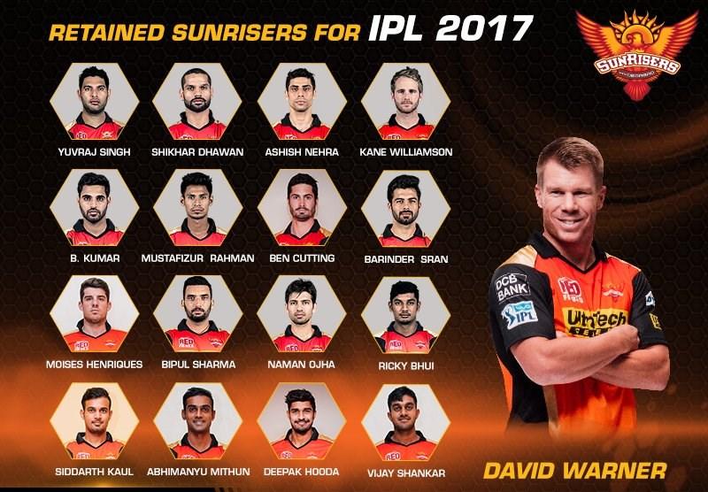 IPL 2017: Team Profile, Sunrisers Hyderabad