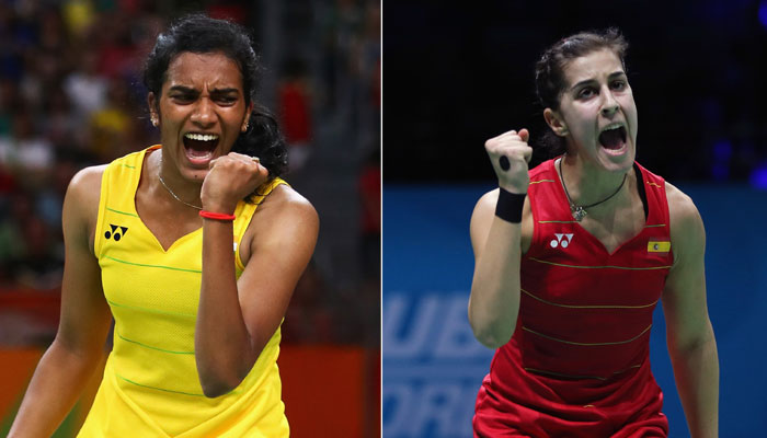 PV Sindhu competes with Carolina Marin at Singapore Open quarter-final