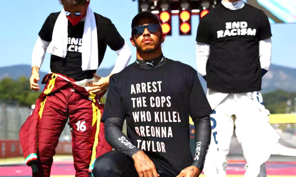 Message on Lewis T-shirt read 'Arrest the cops who killed Breonna Taylor' ahead of Tuscan Grand Prix