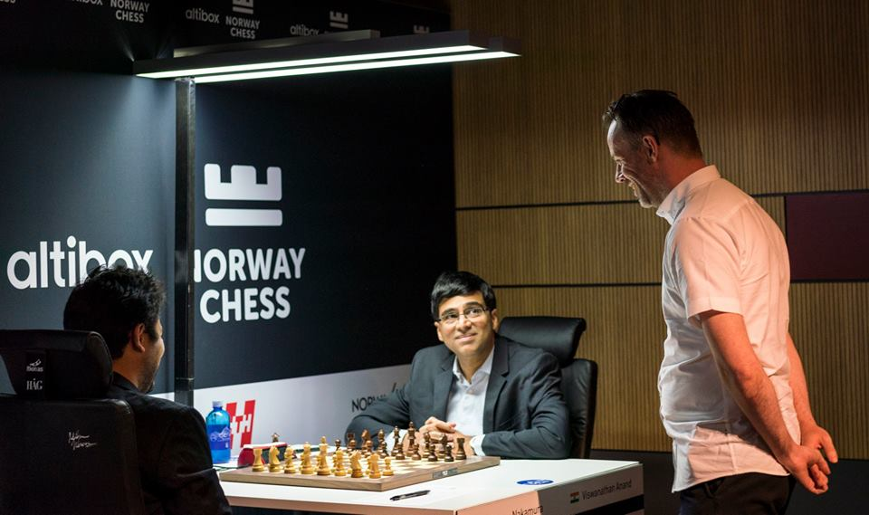 Anand draws with Ding Liren in the 3rd round of Altibox Norway Chess tournament