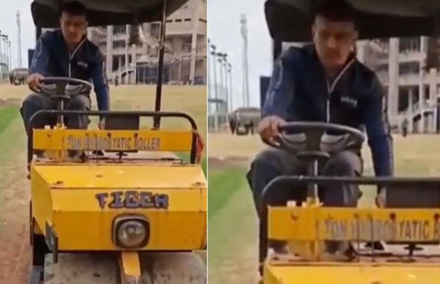 MS Dhoni driving Pitch Roller at JSCA Stadium- Watch Viral Video
