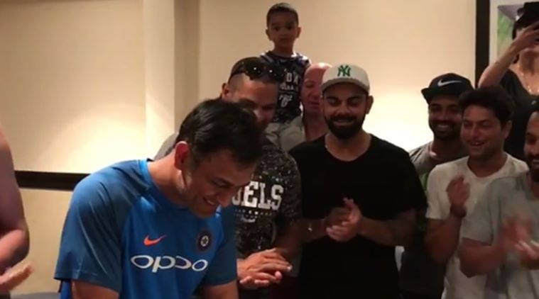 MS Dhoni celebrates birthday with teammates and family