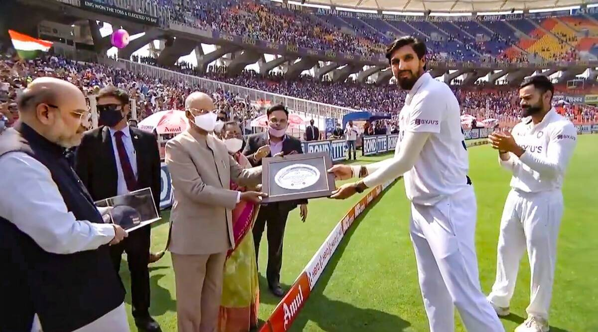 President Kovind, Home Minister Amit Shah felicitates Ishant Sharma on his 100th Test