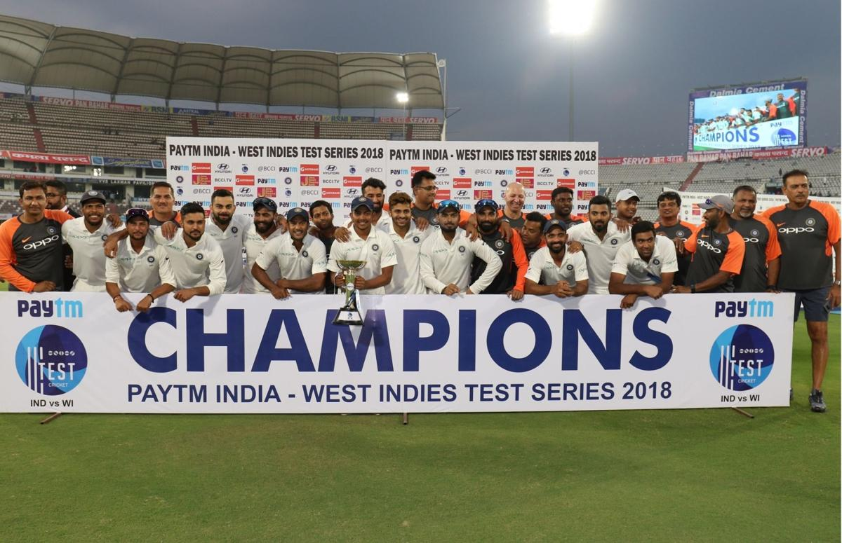 India beat West Indies by 10 wickets in the 2nd Test match at Hyderabad
