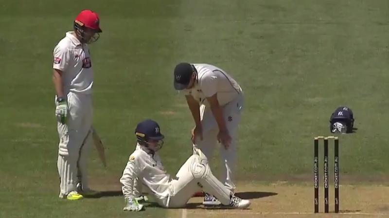 Australian wicketkeeper gets hit on the head with a bat