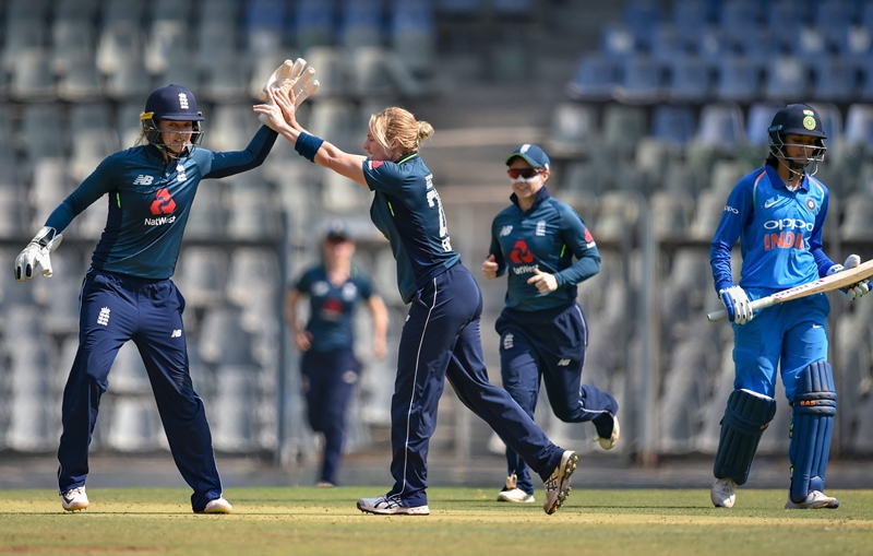 England restricts India women to 205 for eight wickets
