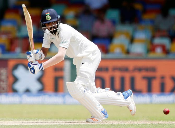 Rahul, Dhawan strike fifties, India take lunch at 134 for none