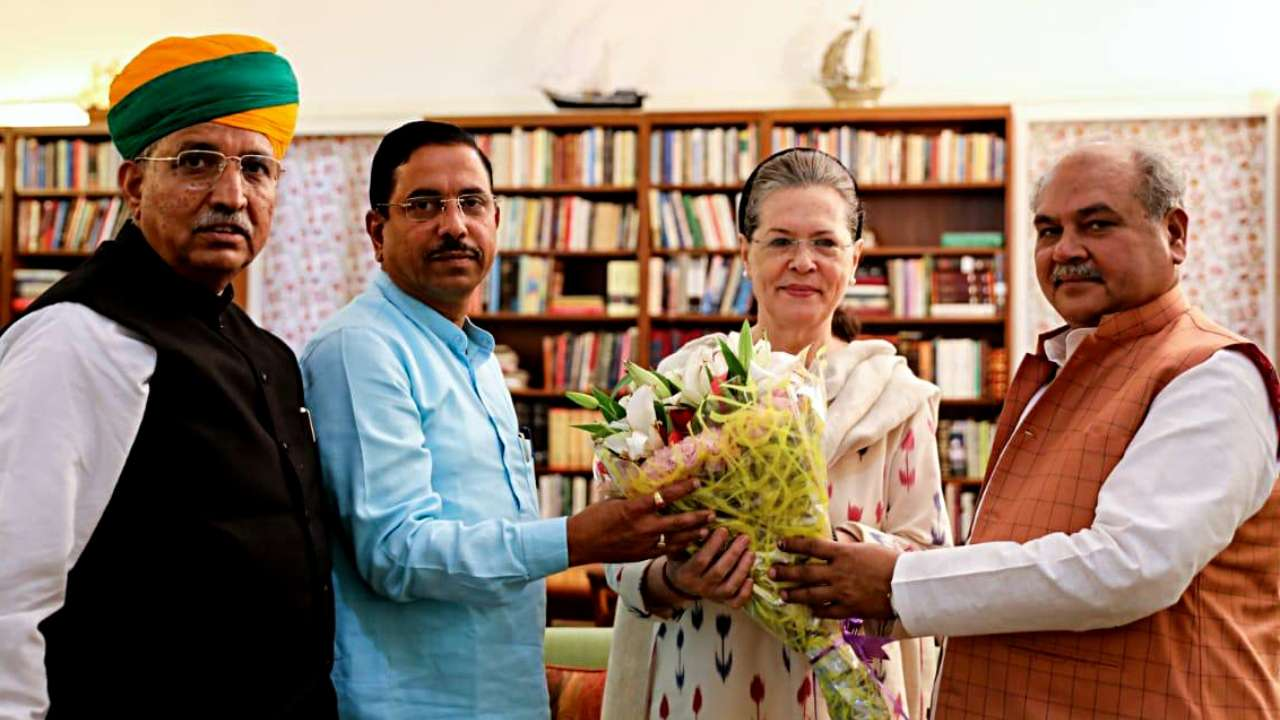 Pralhad Joshi meets Sonia Gandhi ahead of Parliament session