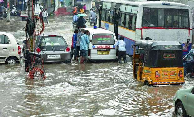 Hyderabad records heavy rainfall