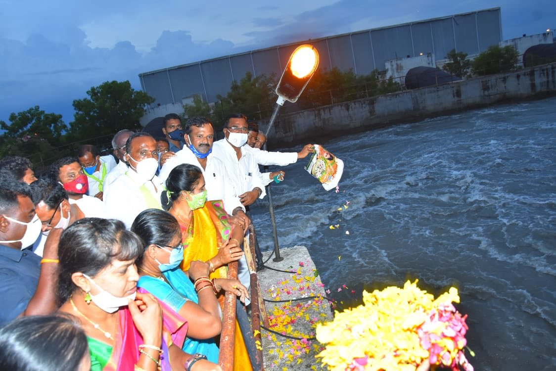 Agriculture Minister S Niranjan Reddy releases water from Phase-2 of the Bhima Lift Irrigation Scheme