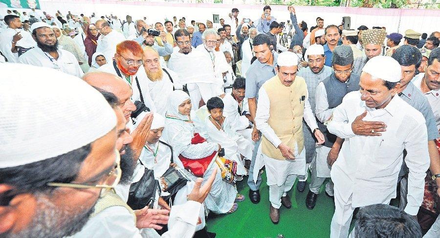 CM KCR flagging off the 4th batch of Haj pilgrims at Haj House