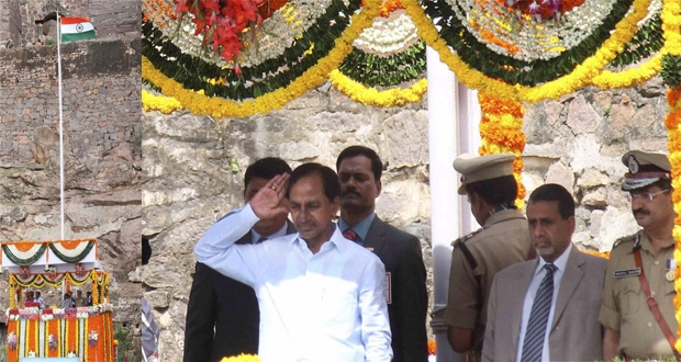 CM KCR hoisted tri colour at Golconda Fort in Hyderabad