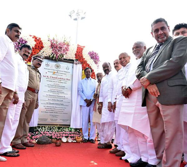 CM KCR lays foundation stone for new camp office
