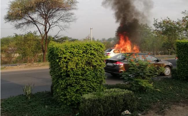 Ola Cab catches fire in Hyderabad