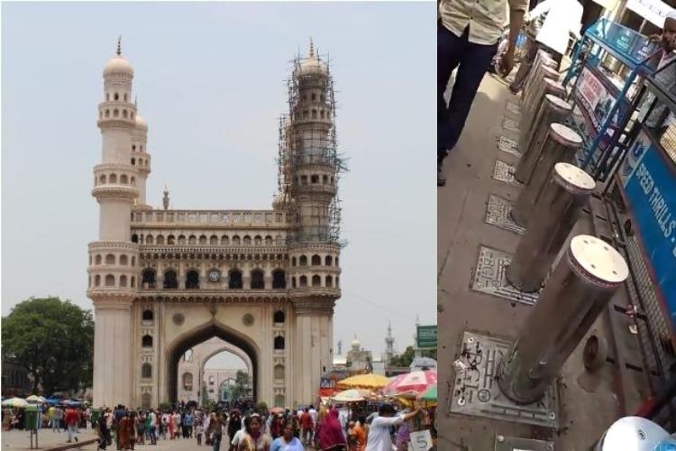 Electric bollards installed at Charminar