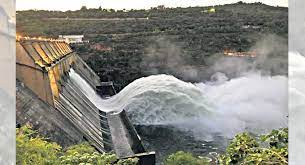 Two crest gates of Srisailam dam lifted