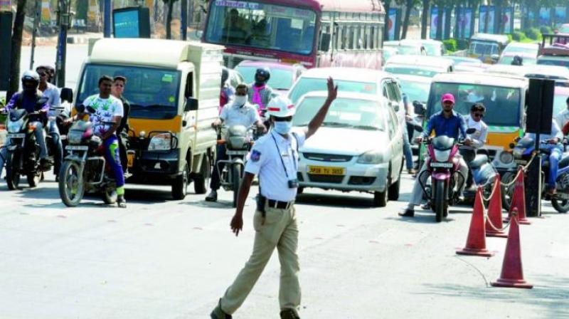 Traffic curbs at Nampally today