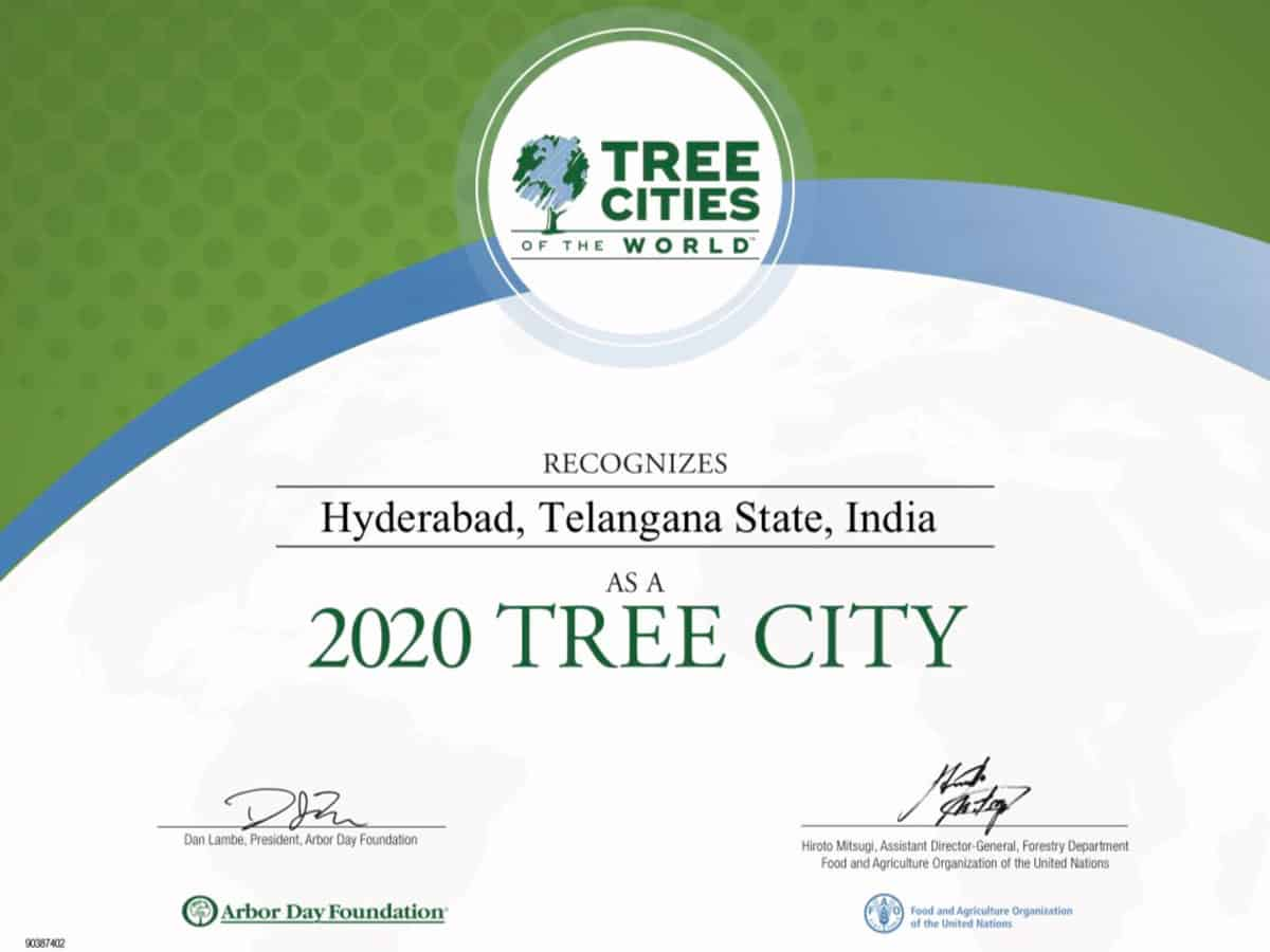 hyderabadgetsrecognitionas2020treecityoftheworld