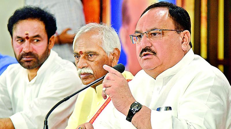 BJP President JP Nadda alleges that CM KCR and his family looting Telangana state